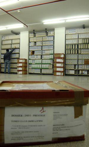 Tomos de la causa del Prestige en el archivo de la Audiencia de A Coruña.