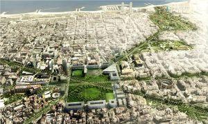 Recreació del disseny de la plaça de les Glòries, subratllant la continuïtat amb la Ciutadella.