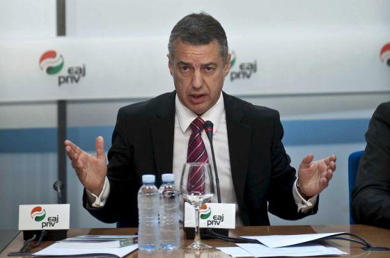 Iñigo Urkullu durante su intervención, en una jornada organizada por su partido, ayer en Bilbao.