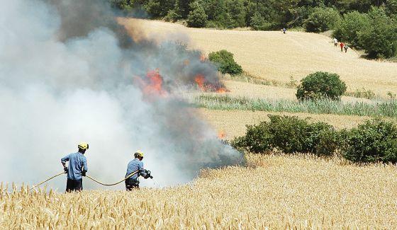 Agentes de los bomberos, ayer intentando apagar el fuego en un campo de cereal todavía sin segar.