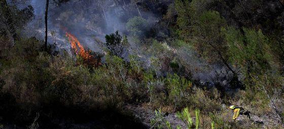 Las llamas brotan en algunos puntos en el incendio de Cortes de Pallás.