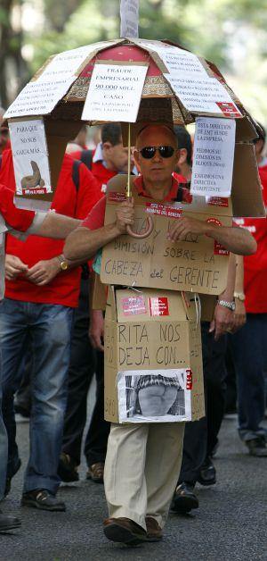 Trabajadores de la EMT protestando en una imagen de archivo.