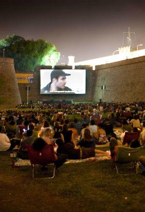 Cine al aire libre en Montjuïc.