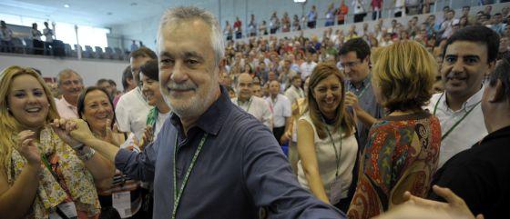 Griñán, tras ser reelegido secretario general del PSOE andaluz.