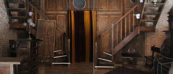 Composición basada en dos fotografías superpuestas que muestra el acceso al escenario del teatro.