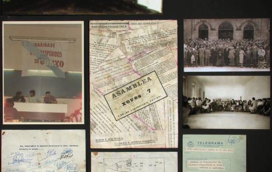 Mural con documentos que conservaron los médicos del centro.