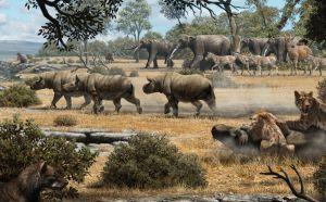 Recreación de los pobladores de la loma hace nueve millones de años.