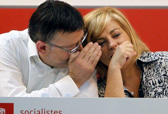 Ximo Puig y Elena Valenciano, este sábado, en la sede del PSPV-PSOE en Valencia.