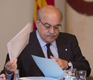 El consejero de Economía de la Generalitat, Andreu Mas-Colell, en la reunión del Gobierno catalán en el Palau de la Generalitat.