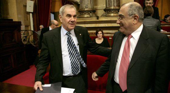 Ernest Maragall y Joaquim Nadal, durante un pleno en el Parlament