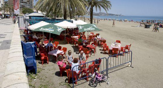 Chiringuito en la playa de La Malagueta, en Málaga.