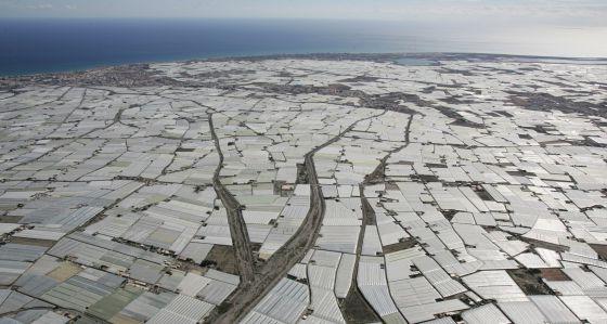 Vista aérea de los invernaderos en El Ejido.
