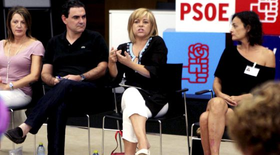 La vicesecretaria general del PSOE, Elena Valenciano, durante la reunión de ayer