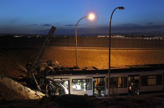 El tren siniestrado en las cocheras de Metro el pasado martes en el que fallecieron dos personas.