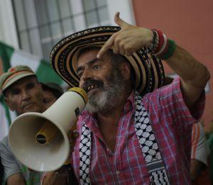 Juan Manuel Sanchez Gordillo habla a sus simpatizantes en el palacio de Moratalla