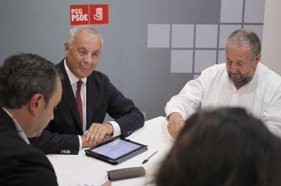 Pachi Vázquez durante la reunión del PSdeG