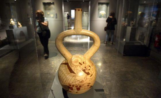 Una de las piezas precolombinas que se pudo ver ayer por última vez en Barcelona.