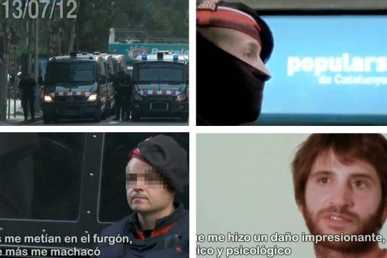 Fotogramas del vídeo publicado en Youtube en el que Sergi García denuncia malos tratos de los Mossos d'Esquadra.