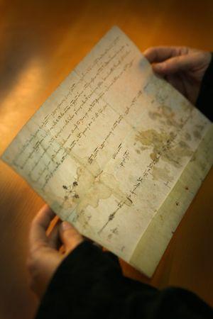 Manuscrit de Jaume I de 1238, en llatí, sobre l'amollonament d'Andilla.