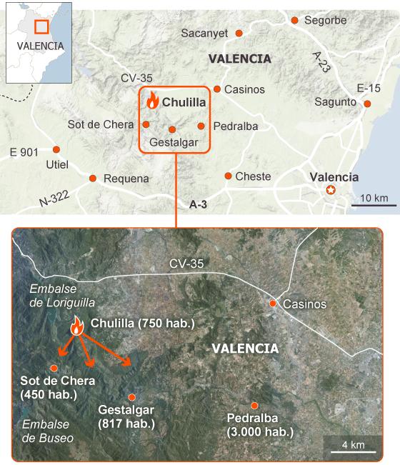 Dos mil desalojados a causa del fuego sin control en el interior de Valencia