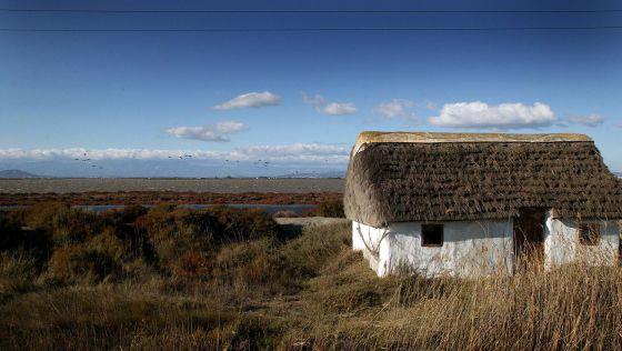 Barraca de agricultores en pleno delta del Ebro.