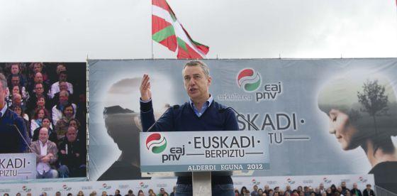 Iñigo Urkullu, en un momento de su intervención en el Alderdi Eguna del PNV celebrado en Vitoria.