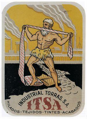Cartell de la téxtil Torras, típica empresa familiar que va saltar a S.A.