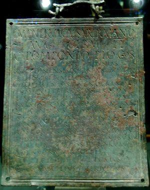 La Tabula Hospitalis encontrada en la Domus de Quinto Licinio.