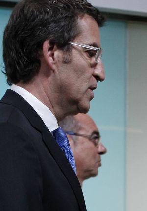 Alberto Núñez Feijóo, con el candidato del BNG, Francisco Jorquera