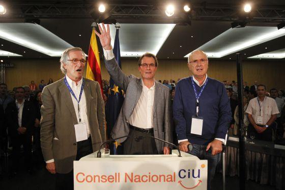 Xavier Trias, Artur Mas y Josep Duran Lleida en el Consejo Nacional de CiU.