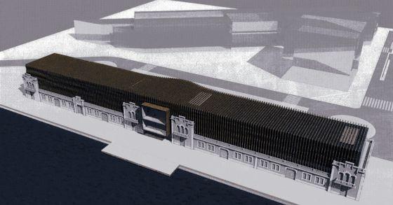 Recreación de una vista aérea del proyecto del Hermitage de Barcelona