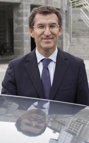 El presidente de la Xunta, ayer en Santiago