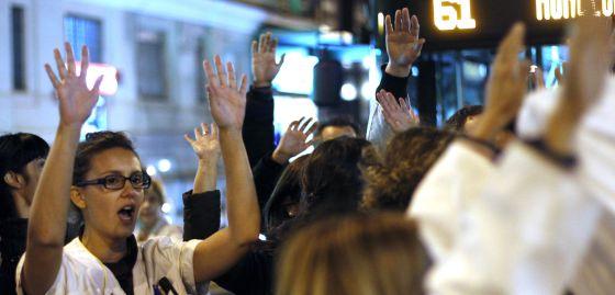 Protesta el viernes pasado frente al hospital de La Princesa.