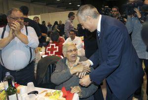 El líder del PSC, Pere Navarro, en el cena que abrió la campaña de su partido.