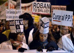 Protestas contra la reforma de la sanidad en Madrid.
