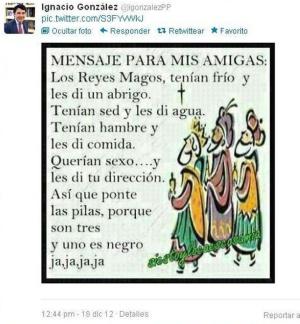 Felicitación publicada por error desde la cuenta de González.