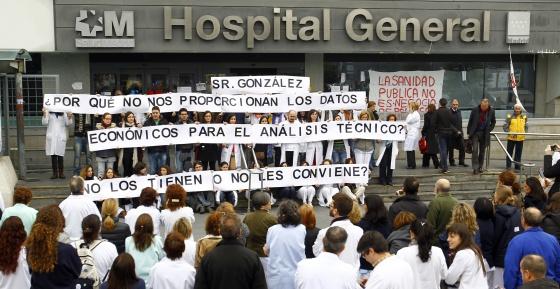 Protesta de médicos en La Paz.
