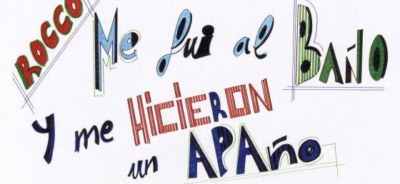Uno de los carteles que rotula Rafael Sánchez.