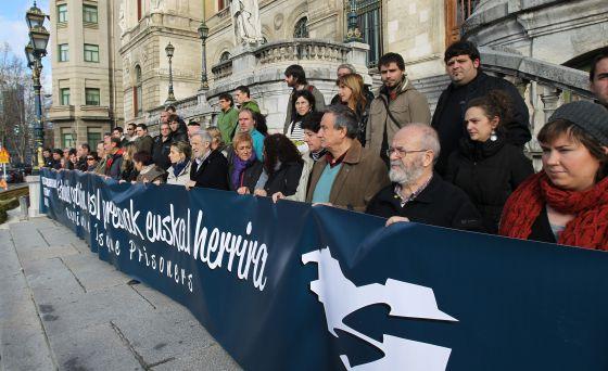 Concentración de apoyo en Bilbao a favor de la manifestación de los presos de ETA.