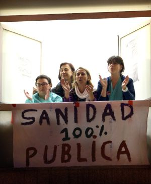 Protesta en el hospital de La Princesa contra la privatización.