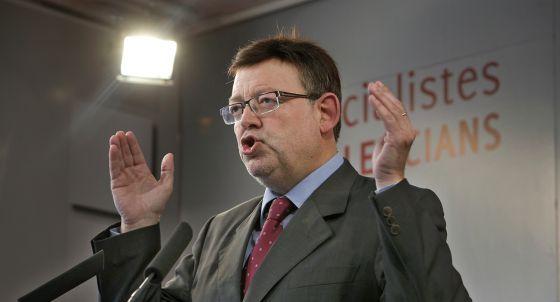 Ximo Puig, secretario general del PSPV-PSOE, durante una intervención en la sede de su partido.