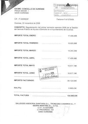 Imagen de la factura que tramitó la concejalía