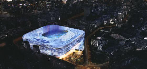 Recreación elaborada por el Real Madrid de la imagen del futuro estadio del paseo de la Castellana.