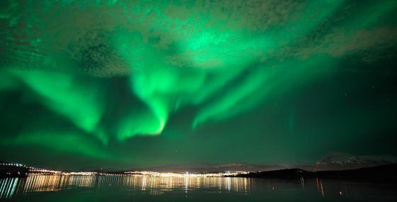 Una aurora boreal en Noruega.