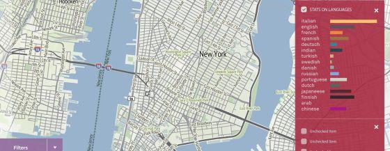 Simulación del proyecto europeo Urban Sensing sobre el mapa de la ciudad de Nueva York.