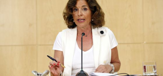 Ana Botella, en la rueda de prensa tras la Junta del Gobierno.