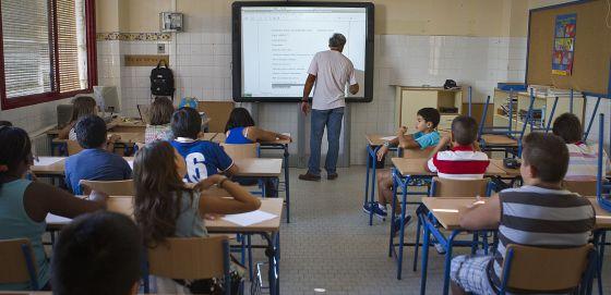 Una clase en el Colegio San José Obrero de Sevilla.