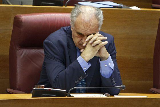 Rafael Blasco, en su escaño de la Cortes Valencianas.