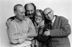 Xavier Miserachs, Leopold Pomés, colita y Oriol Maspons en 1997.