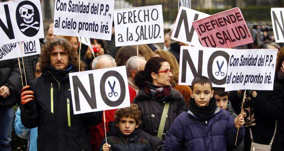 Una manifestación en defensa de la sanidad el pasado enero.